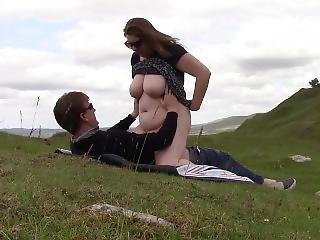 Milf Rides Strangers Cock Outdoors Till He Cums Deep Inside Her Cunt
