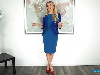 Not Margot Robbie Strips In A Sexy Blue Dress