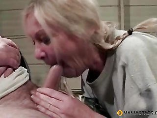 Woman With Braids Touching His Knob