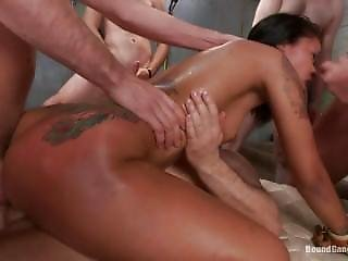 Ebony Babe Fucked By 6 Big White Cocks Until They All Give Her A Bukkake