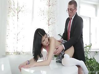 Tricky Old Teacher   Tricky Old Teacher Shows Esenia How A Pussy