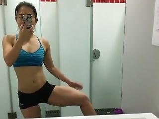 Chinese Fit Checking Out Her Thighs