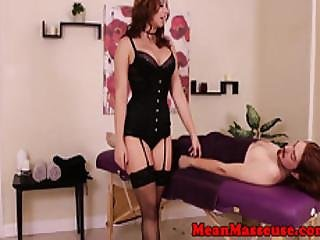 Redhead Dom Masseuse Ruins Her Clients Orgasm
