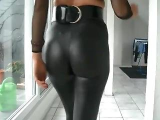 Joi German Hot Tight Shiny Black Pants...yea!