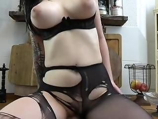 Alessia Noir Sexy Girl Rips Pantyhose Fucks Dildo On Table