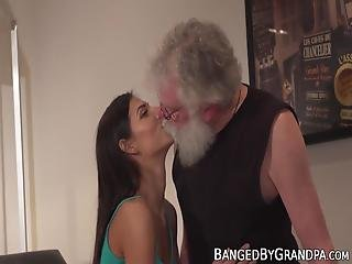 Gorgeous Teen Screwed And Fed With Jizz By Grandpa! They Start The Action Off With Oral Pleasures And End It With A Cum Bang!