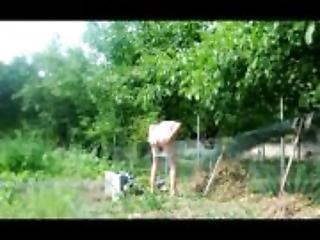 transvestite man garden outdoor anal fisting sextoy 54