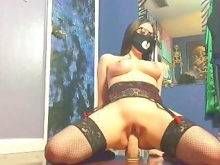 Sexy Babe Rides Dildo