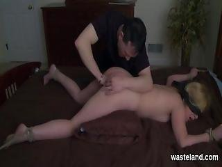 Blindfolded Blonde Slave With Butt Plug Gets Spanked On The Bed