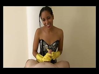 Sexy Ebony In Yellow Rubber Gloves