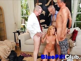 Nasty Teenage Babe Gang Fucked By 3 Old Grandpas