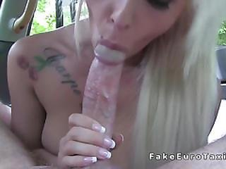 Petite Busty Blonde Gets Huge Cock In Cab