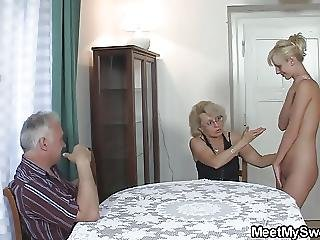 His Old Dad And Mom Teaching Teen