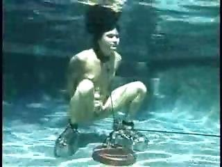 Girl Underwater In Lead Shoes