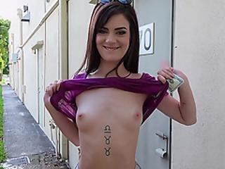 Slim Piper June Gets Her Tight Pussy Slammed Hard In Public