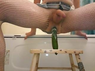 Riding Cucumber In Fishnet & Jean Shorts