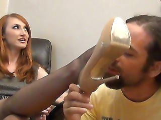Lengthy-legged Secretaries Fondle Guy's Stick With Feet In Nylon Hose