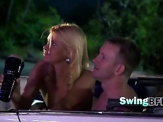 Hot Friends Enjoying In Pool Outdoors