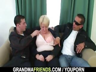 Boozed Blonde Granny Threesome