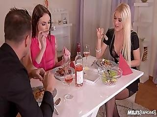 Horny Milf Dinner With Kitana Lure And Marie Clarence Is An Ass Banging Night