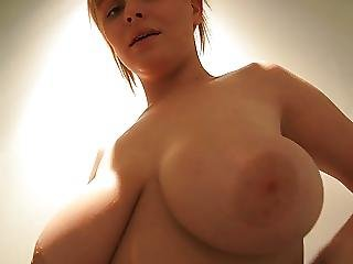 Blonde Bombshell With Big Boobs Takes A Sensual Shower