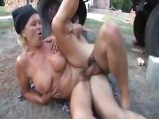Blonde, Blowjob, Cumshot, Farm, Grandma, Hardcore, Outdoor, Riding, Spanking