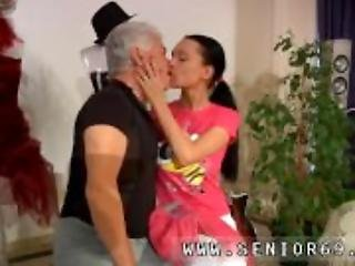 Old guy young girl and sex party with old