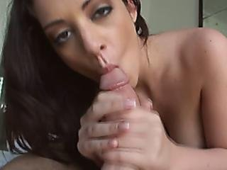 Busty Girl Playing With Stiff Dick