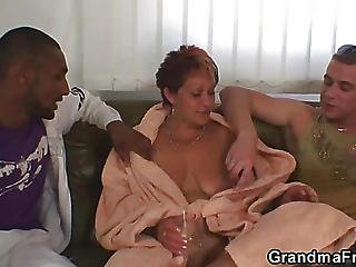Grandma Takes White And Black Cock