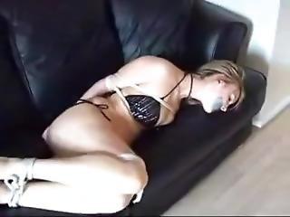 Bikini Blonde Tape Gagged