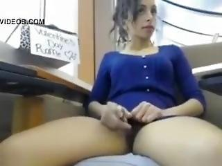 Girl In Sexy Dress Getting Off In The Library