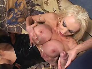 Skanky big titted milf gf double facial