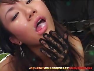 Classy Japanese Babe Gets Covered With Cum - Japanese Bukkake Orgy