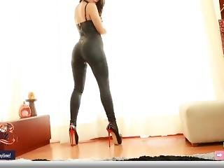 Chaturbate Dancing Leather Bodysuit Sexy Long Tease