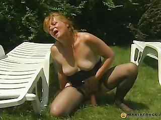 Blond Passionately Bonks Herself