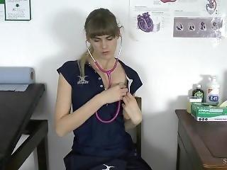 Schoolgirl Experiments With Stethoscope