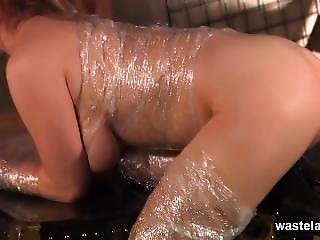 Blonde Is Wrapped In Cling Film Before Getting Fucked