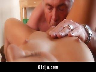 Blowjob, Brunette, Fucking, Old, Older Man, Pussy, Skinny, Teen, Young
