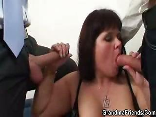 Chubby Mature And Her Two Babe Lovers