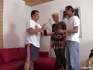 Blonde Wife In Fishnets Fuck With Another Man
