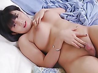 Cute Ladyboy Enjoys Jerking Off Her Cock