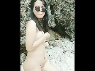 asiatique, plage, gros téton, brunette, fétiche, milf, publique, solo