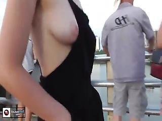 Full Sideboob Flashing On A Busy Tourist Bridge