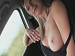 Hitchhiker Alena Got Cum On Her Big Boobies After Fucking