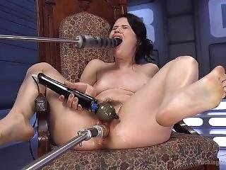 Brunette getting butt fucked