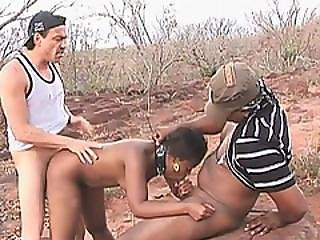 African Slut Fucked In Outdoor Action By Two Horny Pricks