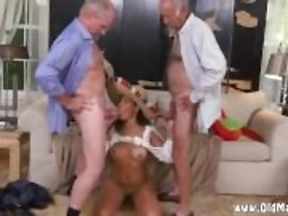 kuřba, brunety, staré, starší muž, orální, sex, Mladý Holky, trojka