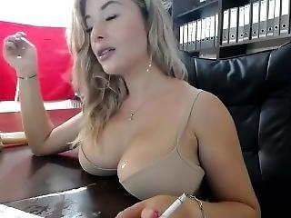 blonde, ervaren, roken, solo
