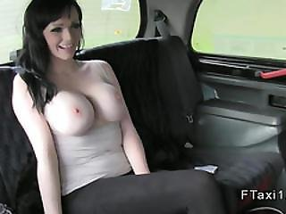 Hot British Ababe With Huge Tits In Cab