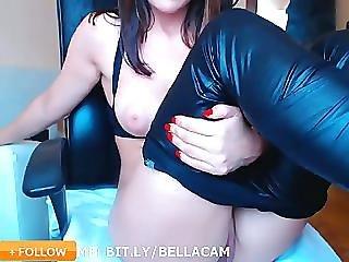 Leather Pants Pale Girl Black Hair Masturbate